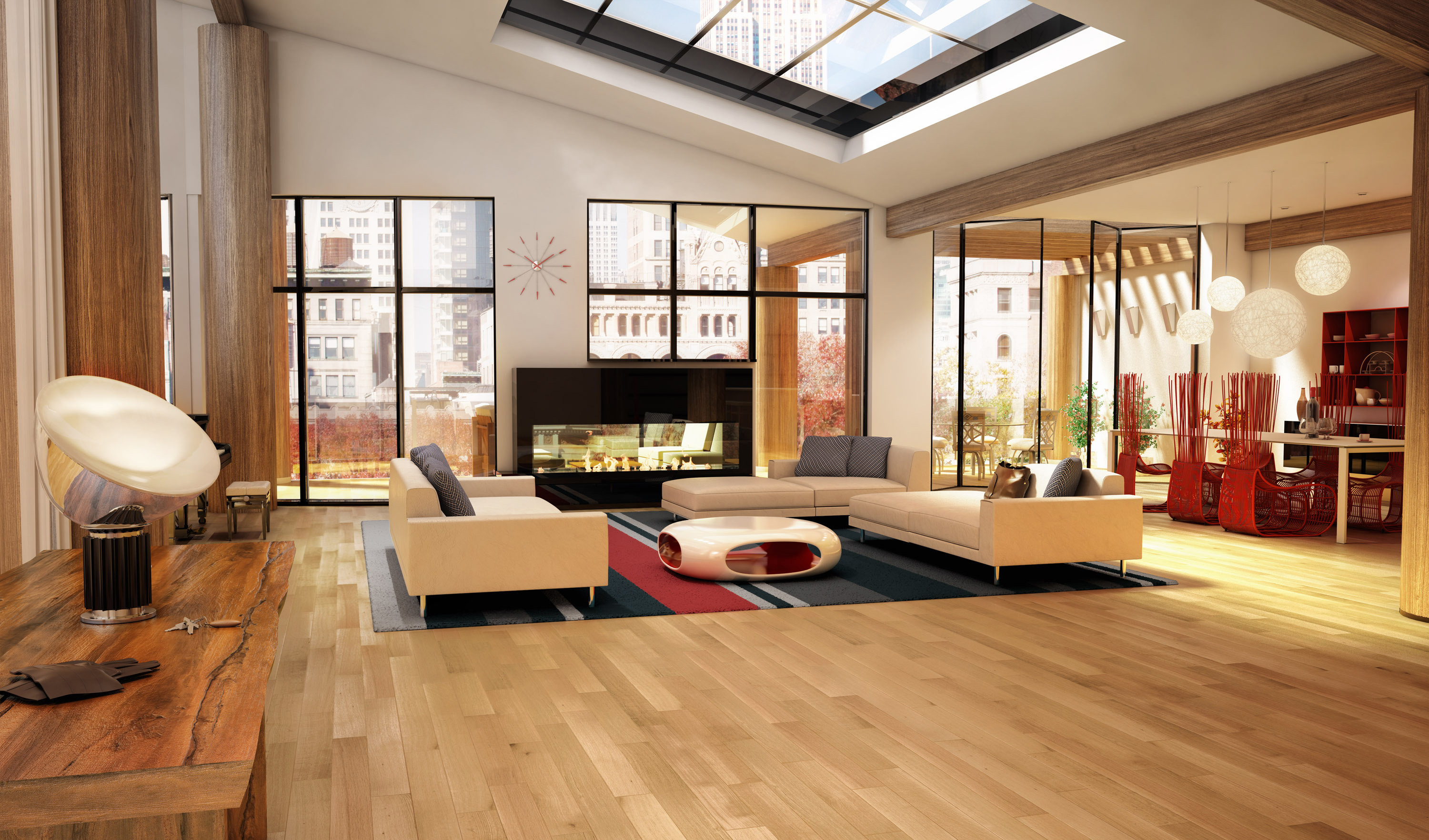 flooring ideas modern large velux skylights over white sectional sofas feat round coffee desk on black red rug feat white oak flooring in contemporary open views living room decors natural yet elegant